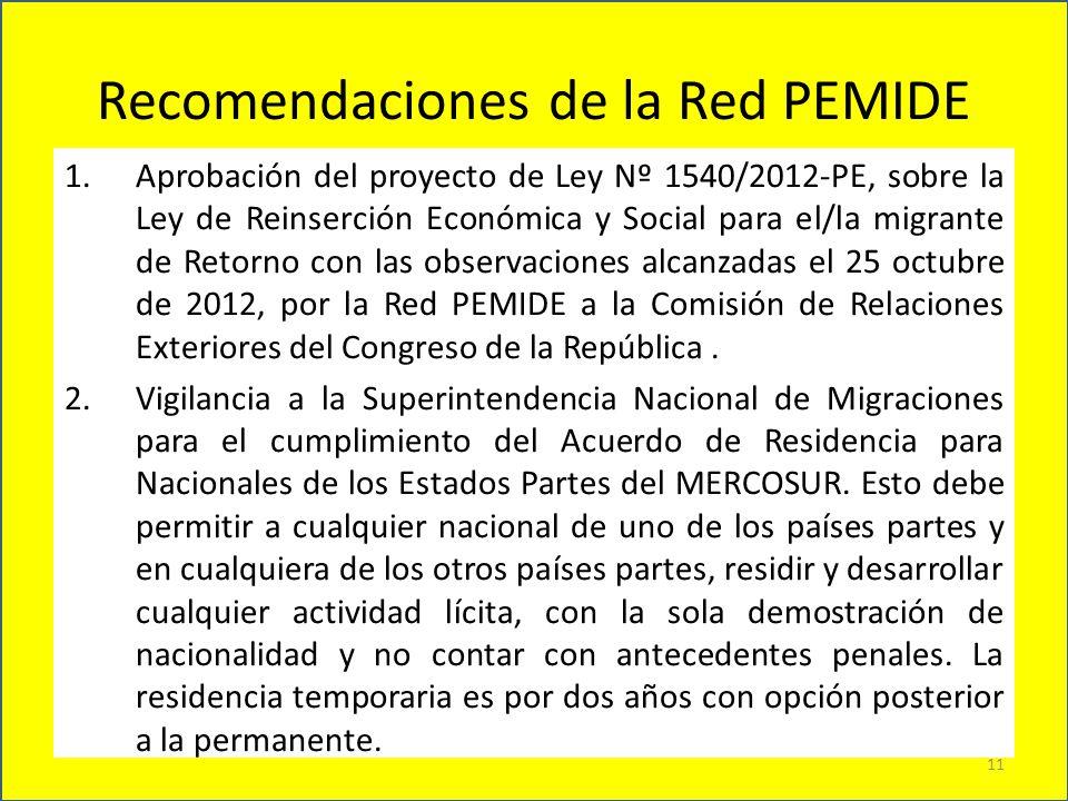 Recomendaciones de la Red PEMIDE 11 1.Aprobación del proyecto de Ley Nº 1540/2012-PE, sobre la Ley de Reinserción Económica y Social para el/la migran
