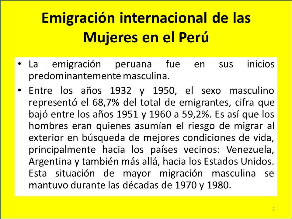 Emigración internacional de las Mujeres en el Perú En el período 1981-1990, la población de mujeres emigrantes fue de 48,3%, y en la década de 1991- 2000, representó la mayoría con un 56,5%, situación que se consolida entre los años 2001-2006 en los que la población migrante femenina representa el 52,3% del total de migrantes.
