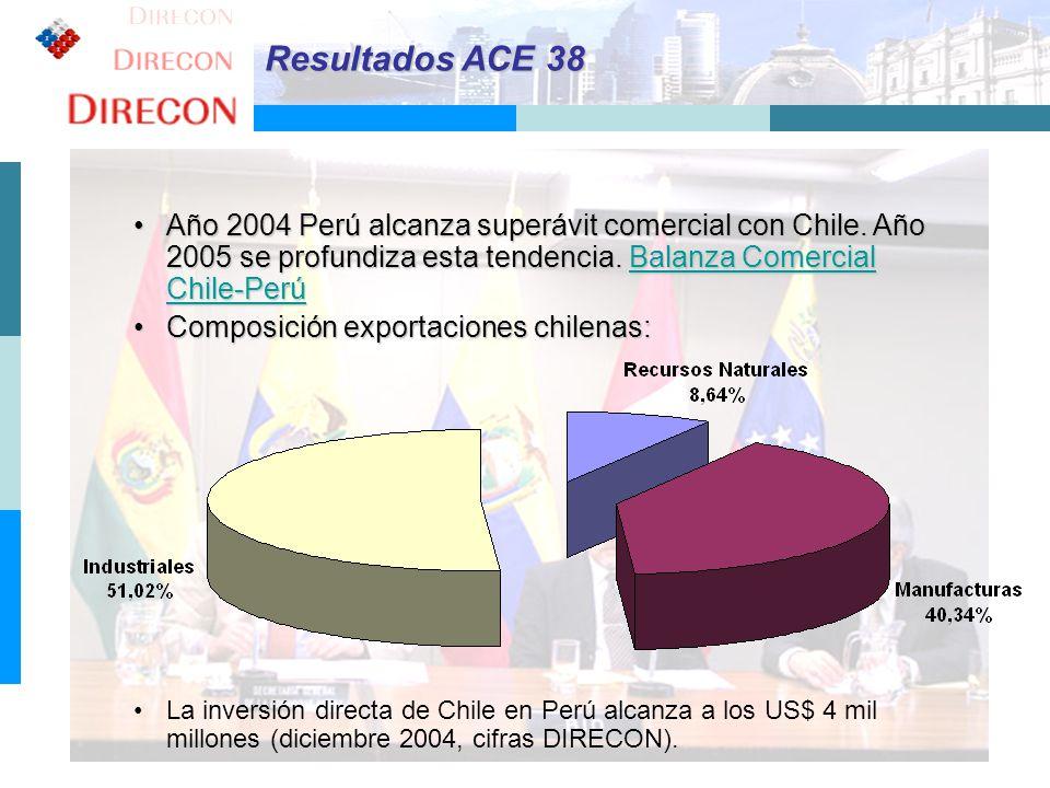 12 Resultados ACE 38 Año 2004 Perú alcanza superávit comercial con Chile. Año 2005 se profundiza esta tendencia. Balanza Comercial Chile-PerúAño 2004