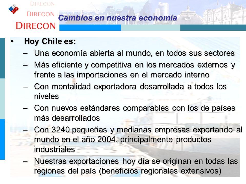 6 Hoy Chile es:Hoy Chile es: –Una economía abierta al mundo, en todos sus sectores –Más eficiente y competitiva en los mercados externos y frente a la