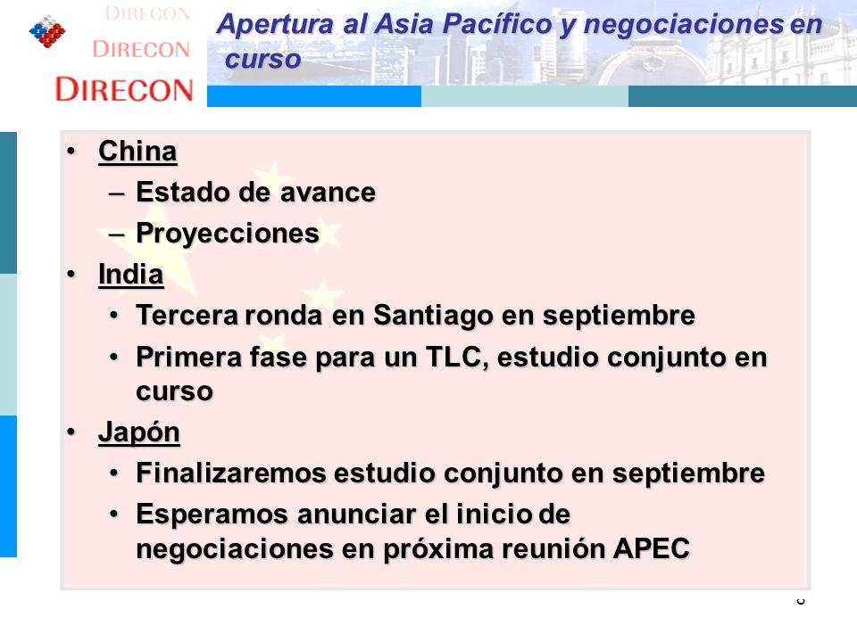 8 Apertura al Asia Pacífico y negociaciones en curso curso ChinaChina –Estado de avance –Proyecciones IndiaIndia Tercera ronda en Santiago en septiemb