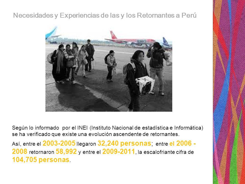 Necesidades y Experiencias de las y los Retornantes a Perú Según lo informado por el INEI (Instituto Nacional de estadística e Informática) se ha verificado que existe una evolución ascendente de retornantes.