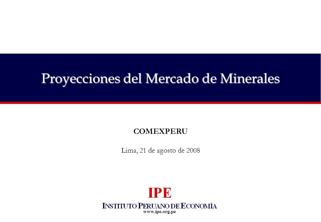 www.ipe.org.pe Proyecciones del Mercado de Minerales COMEXPERU Lima, 21 de agosto de 2008