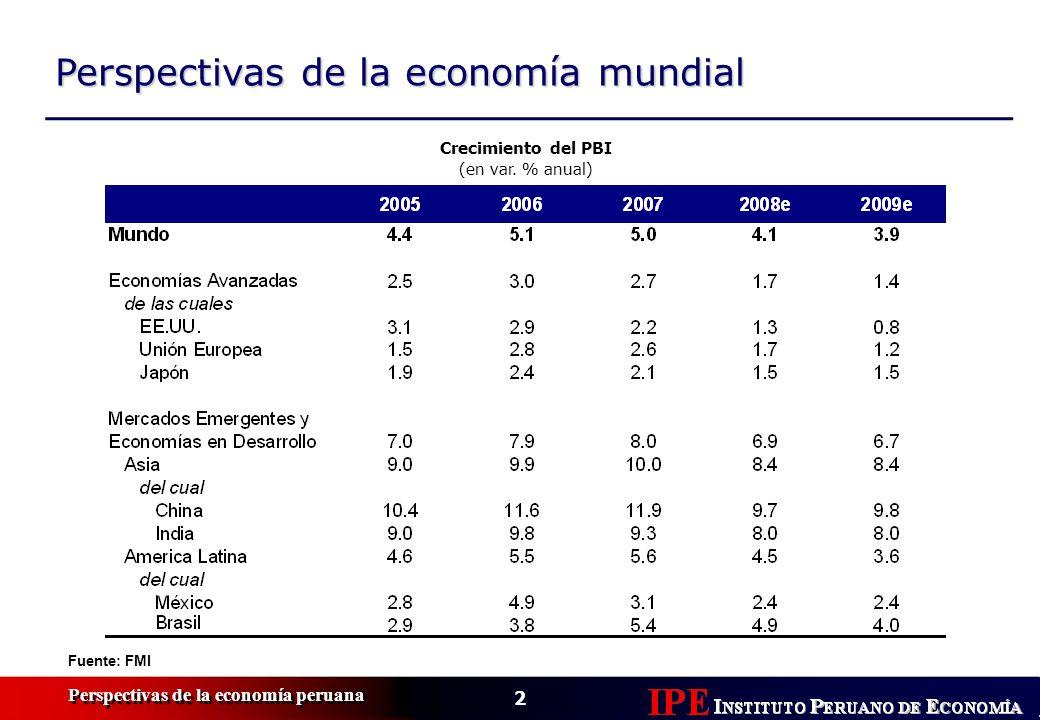 3 Perspectivas de la economía peruana Exportaciones alcanzar í an meseta reci é n en 2009 Pronóstico Exportaciones, 1998-2008e (en miles de US$ millones) Fuente: BCRP, IPE Exportaciones tradicionales, 1998-2008e (en miles de US$ millones)