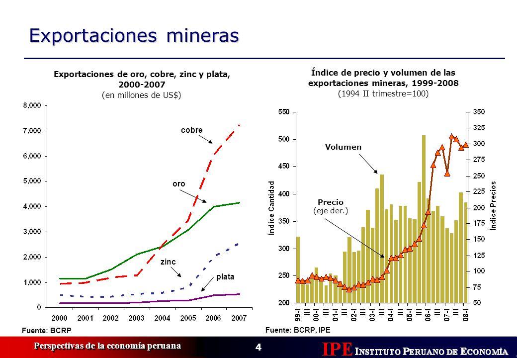 4 Perspectivas de la economía peruana Exportaciones mineras Índice de precio y volumen de las exportaciones mineras, 1999-2008 (1994 II trimestre=100) Volumen Precio (eje der.) Fuente: BCRP, IPE Exportaciones de oro, cobre, zinc y plata, 2000-2007 (en millones de US$) cobre oro zinc plata Fuente: BCRP