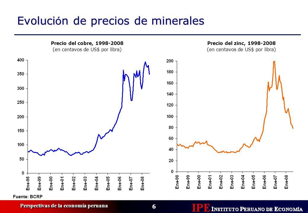 6 Perspectivas de la economía peruana Evoluci ó n de precios de minerales Precio del cobre, 1998-2008 (en centavos de US$ por libra) Fuente: BCRP Precio del zinc, 1998-2008 (en centavos de US$ por libra)