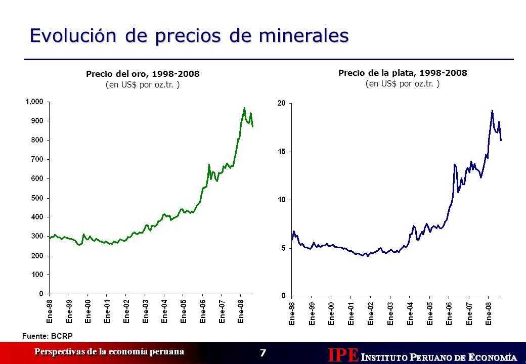 7 Perspectivas de la economía peruana Evoluci ó n de precios de minerales Precio del oro, 1998-2008 (en US$ por oz.tr.