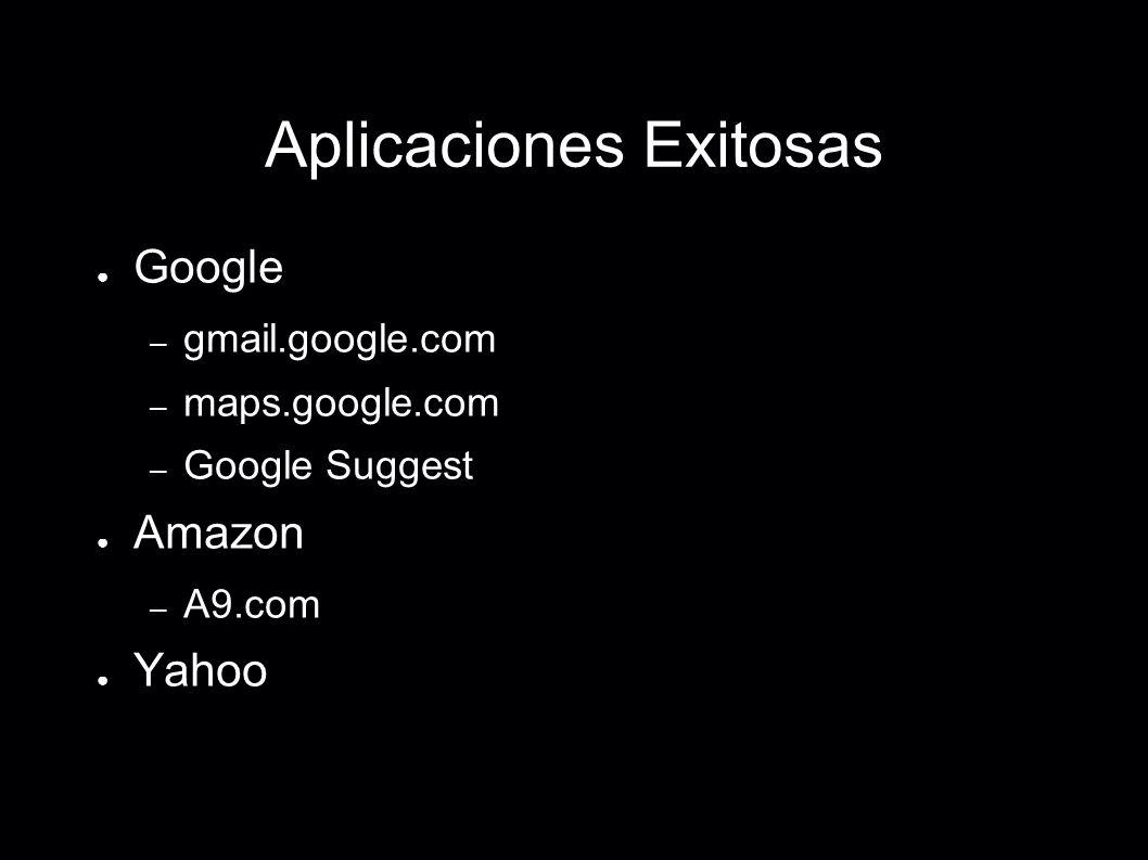 Aplicaciones Exitosas Google – gmail.google.com – maps.google.com – Google Suggest Amazon – A9.com Yahoo