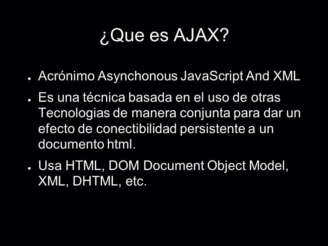 ¿Que es AJAX? Acrónimo Asynchonous JavaScript And XML Es una técnica basada en el uso de otras Tecnologias de manera conjunta para dar un efecto de co