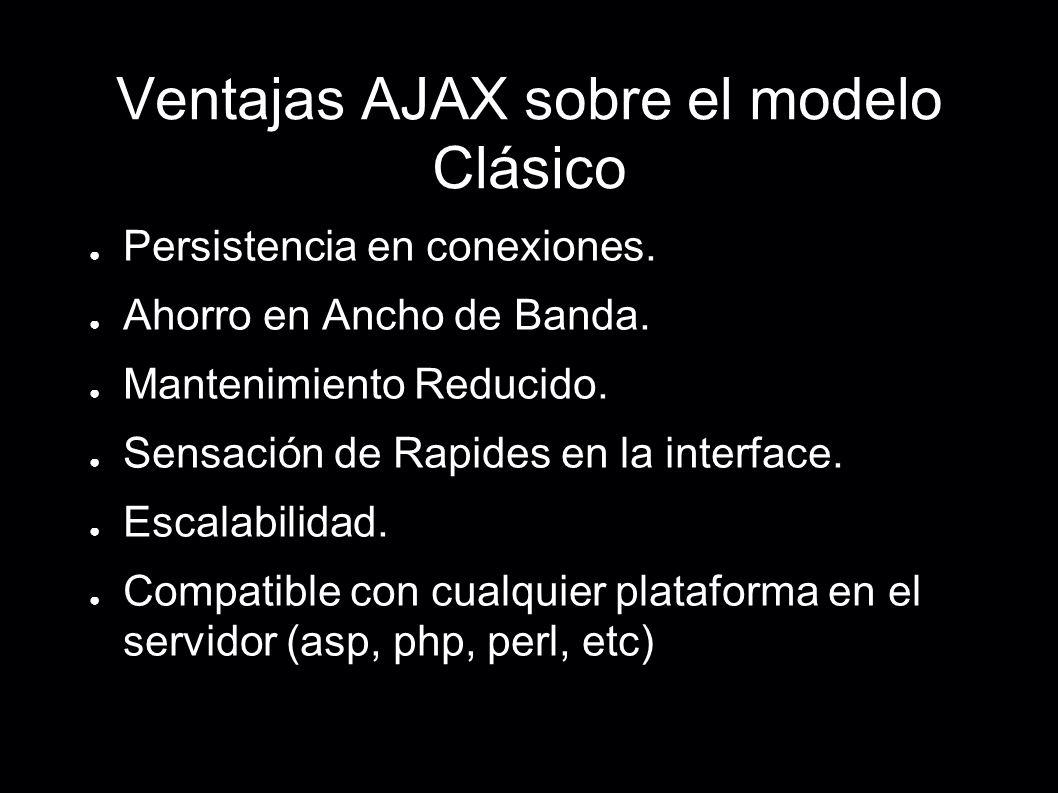 Ventajas AJAX sobre el modelo Clásico Persistencia en conexiones. Ahorro en Ancho de Banda. Mantenimiento Reducido. Sensación de Rapides en la interfa