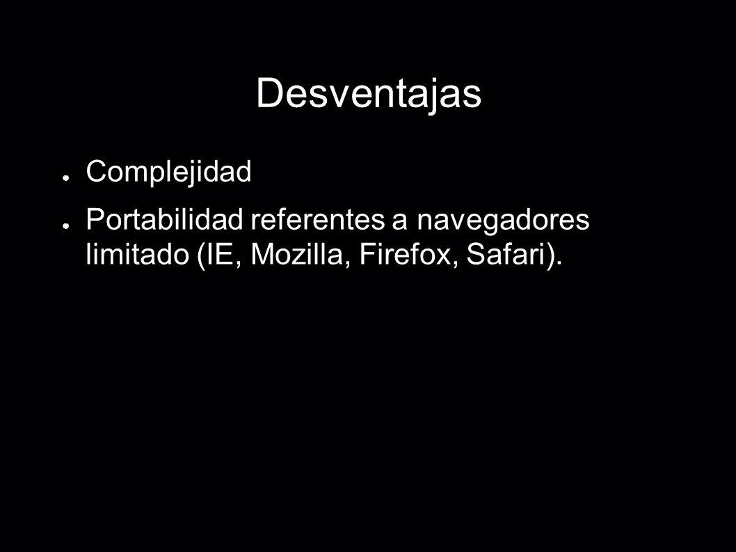 Desventajas Complejidad Portabilidad referentes a navegadores limitado (IE, Mozilla, Firefox, Safari).