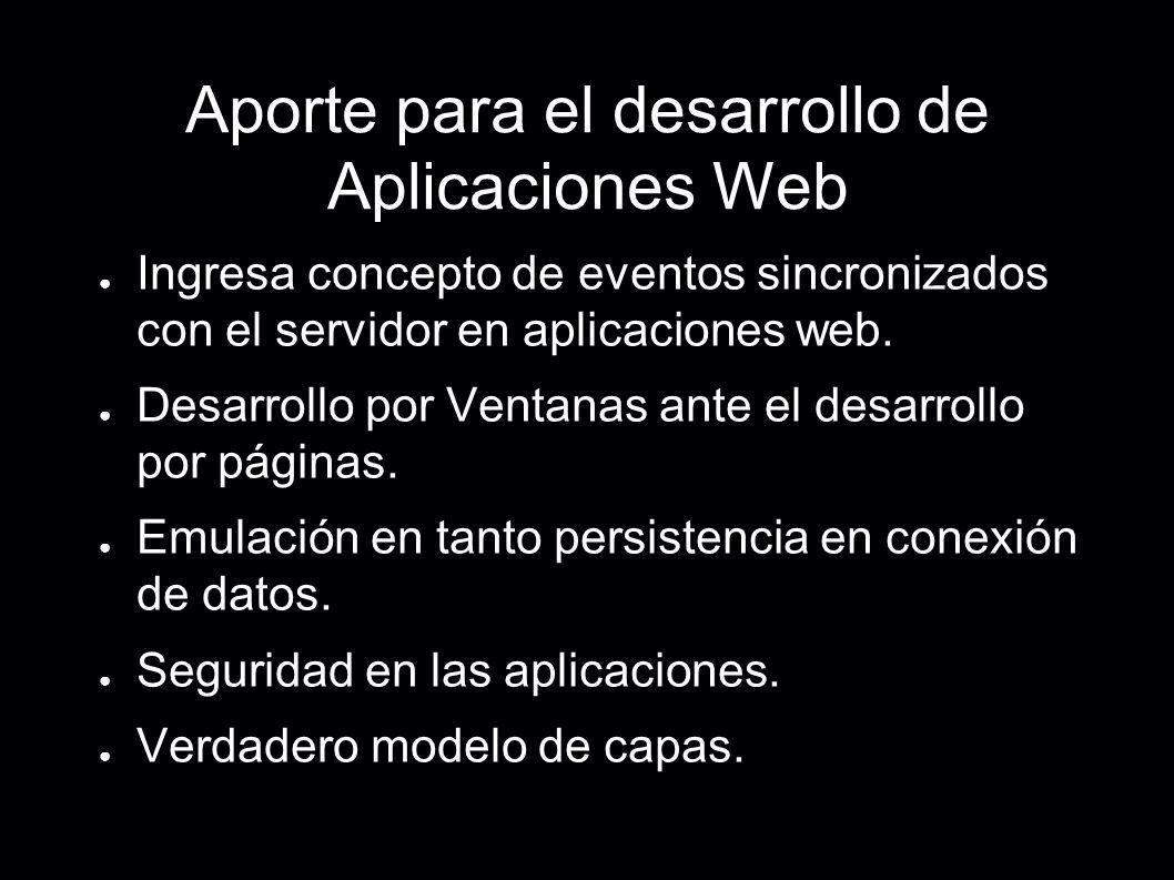 Aporte para el desarrollo de Aplicaciones Web Ingresa concepto de eventos sincronizados con el servidor en aplicaciones web. Desarrollo por Ventanas a
