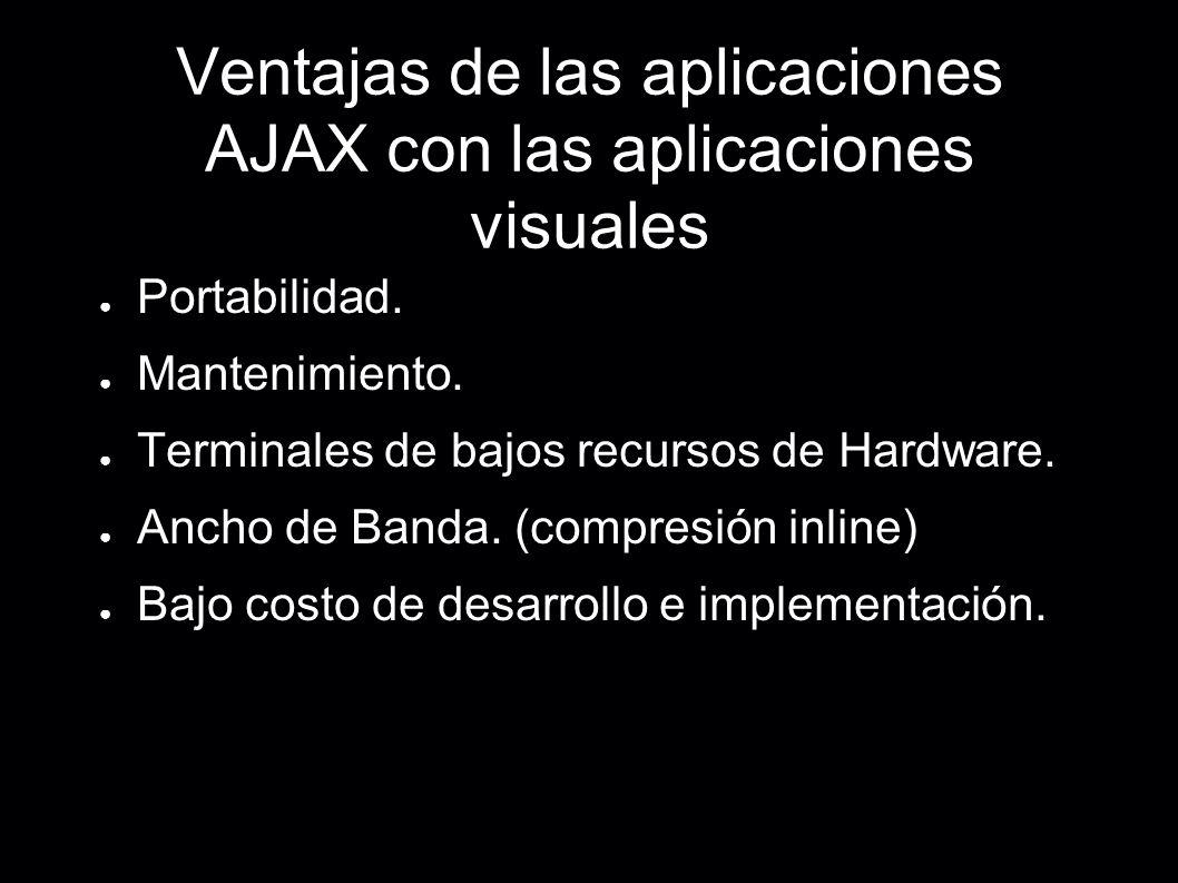 Ventajas de las aplicaciones AJAX con las aplicaciones visuales Portabilidad. Mantenimiento. Terminales de bajos recursos de Hardware. Ancho de Banda.