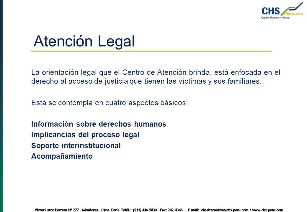 La orientación legal que el Centro de Atención brinda, está enfocada en el derecho al acceso de justicia que tienen las víctimas y sus familiares.