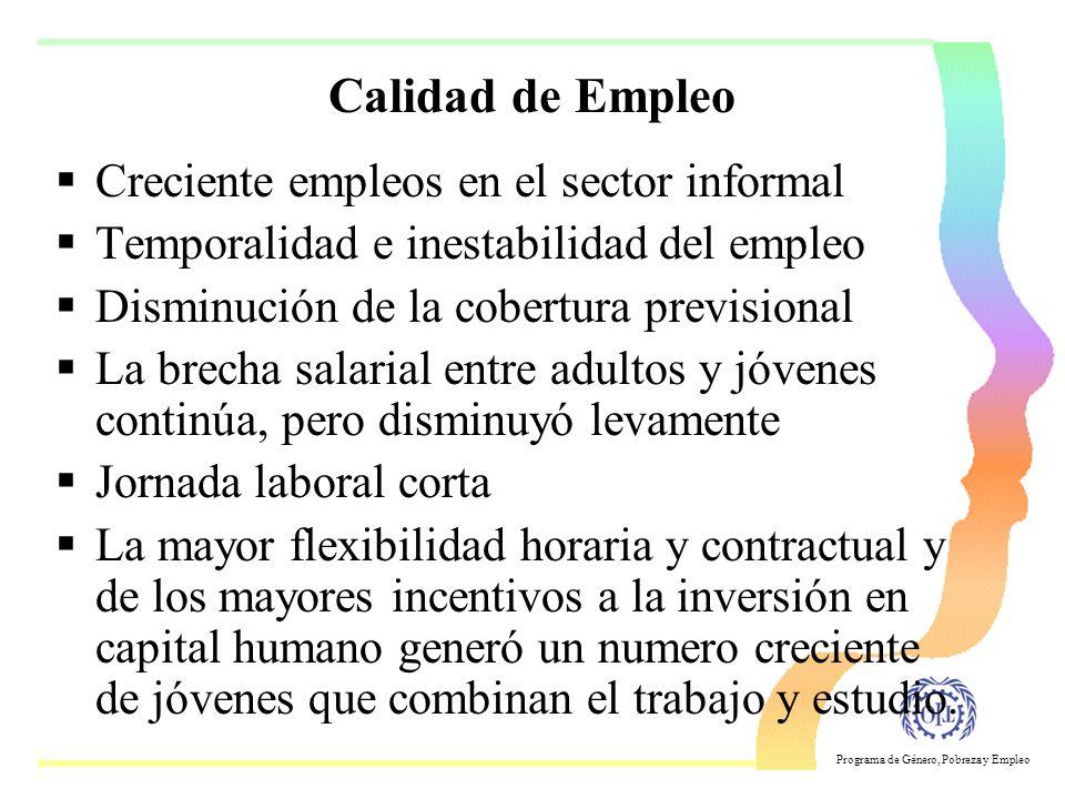 Programa de Género, Pobreza y Empleo Estructura de ocupación de los jóvenes (2) Categoría ocupacional En comparación con los adultos: –Menos asalariad