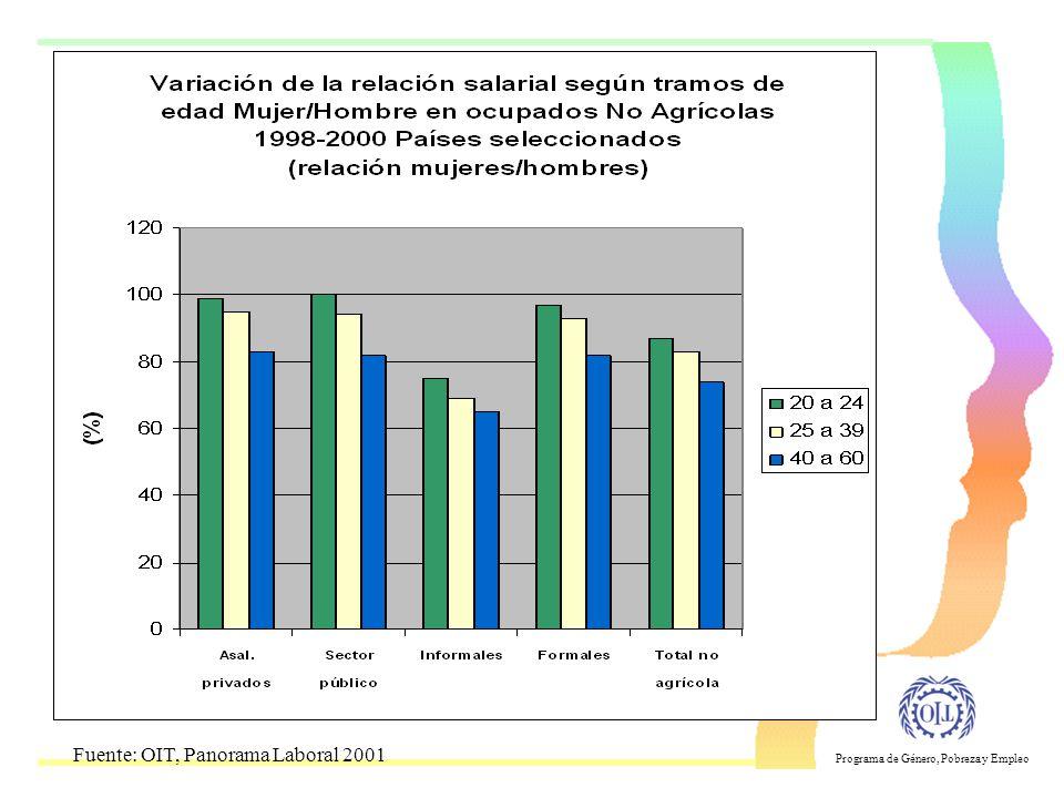 Programa de Género, Pobreza y Empleo Calidad de Empleo Creciente empleos en el sector informal Temporalidad e inestabilidad del empleo Disminución de