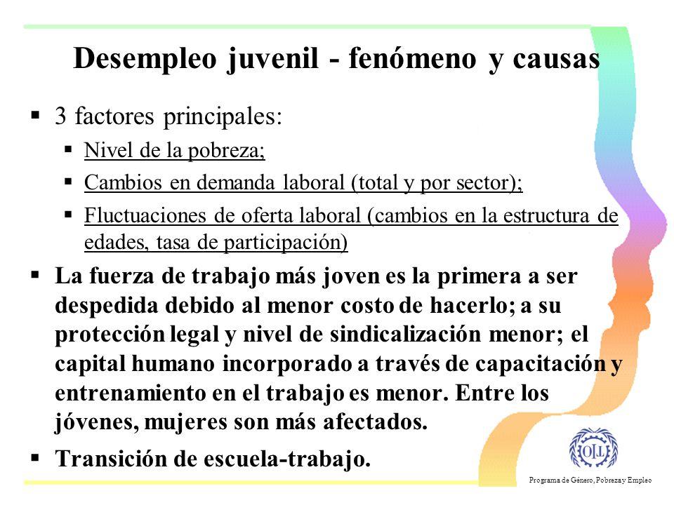 Programa de Género, Pobreza y Empleo Fuente: OIT, Panorama Laboral 2001