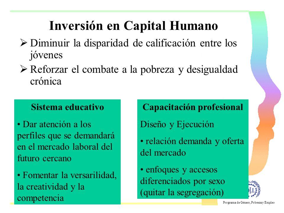 Programa de Género, Pobreza y Empleo 4 pilares de abordaje 1.Ámbito macroeconómico 2.Acceso a los sistemas educativos 3.Sistemas de capacitación Orien