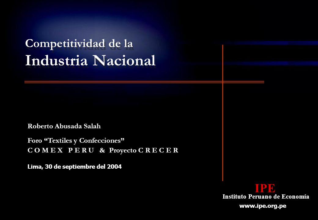 2 Competitividad y productividad Competitividad de la Industria Nacional En los últimos diez años la industria peruana se ha vuelto más competitiva como resultado de: Un crecimiento significativo de las inversiones.