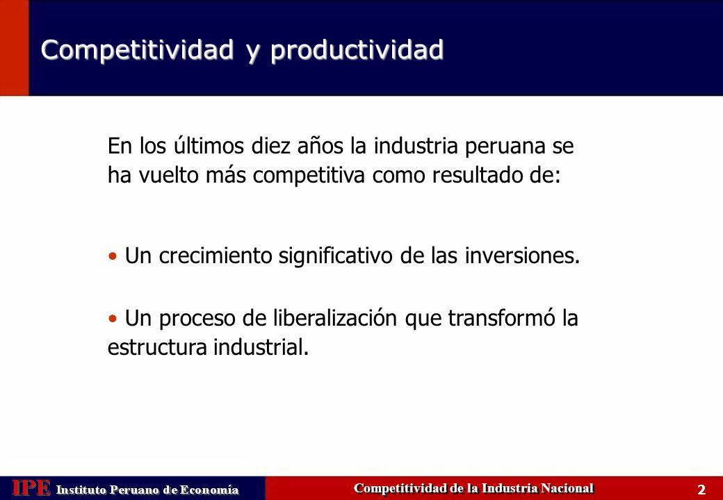 3 Las reformas permitieron incrementar la inversión privada Competitividad de la Industria Nacional Fuente: BID, Banco Mundial Perú – Inversión privada, 1980 – 2002 (como % del PBI) Perú - Composición de la inversión en infraestructura, 1980 - 1998 (privada y pública, como % del PBI) Básicamente telefonía y electricidad