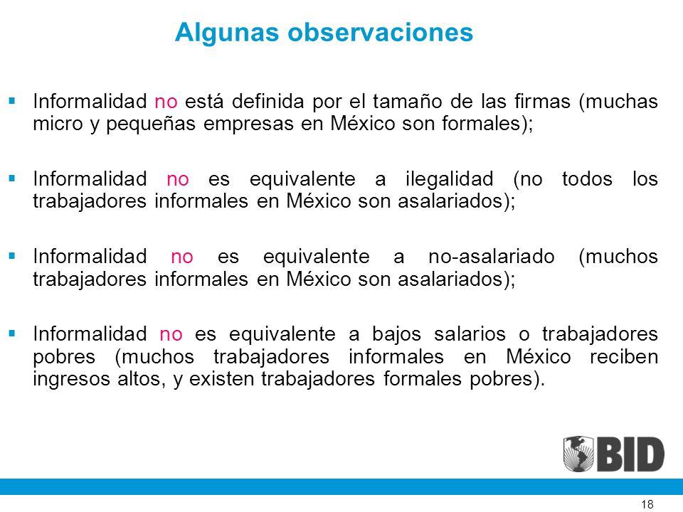 18 Algunas observaciones Informalidad no está definida por el tamaño de las firmas (muchas micro y pequeñas empresas en México son formales); Informal