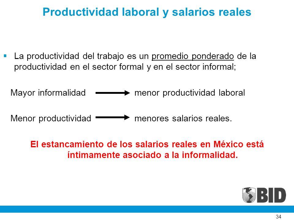 34 Productividad laboral y salarios reales La productividad del trabajo es un promedio ponderado de la productividad en el sector formal y en el sector informal; Mayor informalidad menor productividad laboral Menor productividad menores salarios reales.