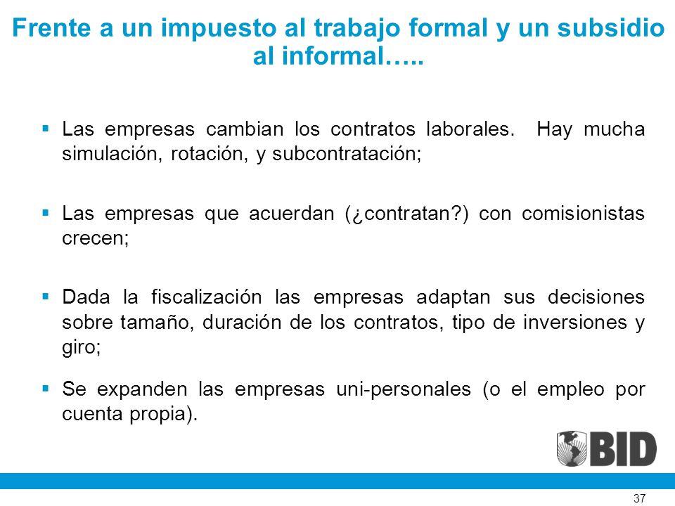 37 Frente a un impuesto al trabajo formal y un subsidio al informal…..
