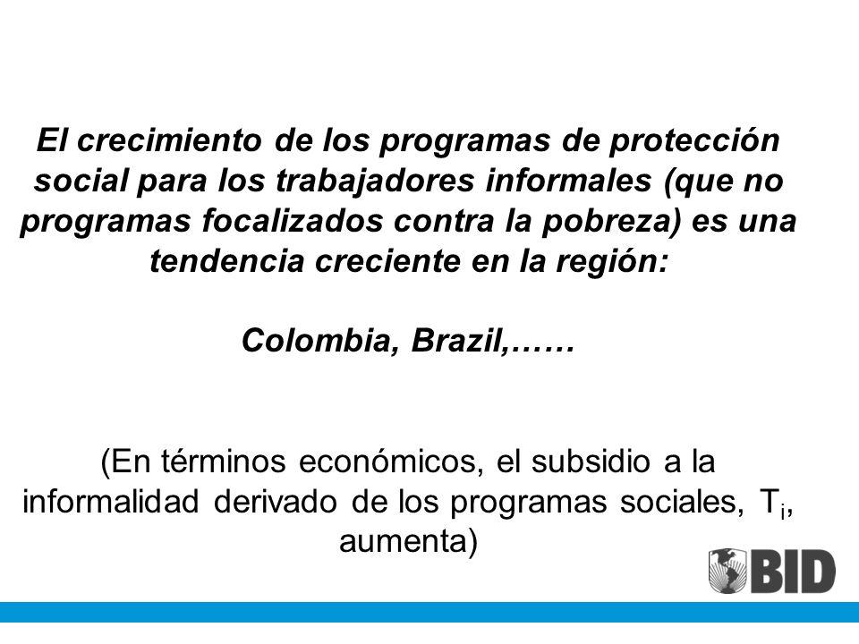 El crecimiento de los programas de protección social para los trabajadores informales (que no programas focalizados contra la pobreza) es una tendenci