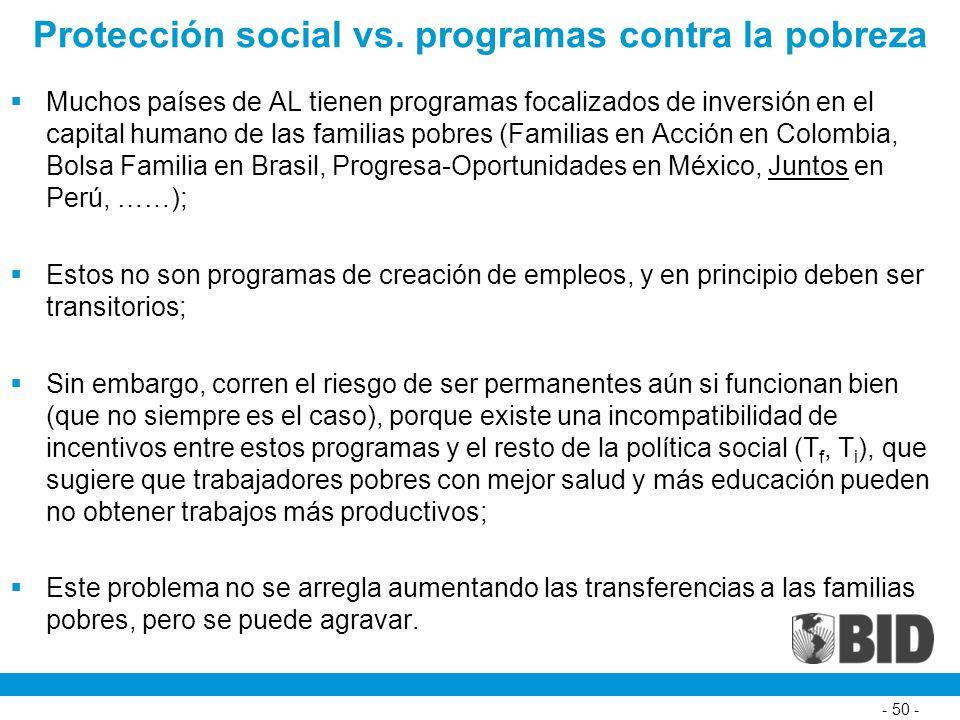 Protección social vs. programas contra la pobreza Muchos países de AL tienen programas focalizados de inversión en el capital humano de las familias p