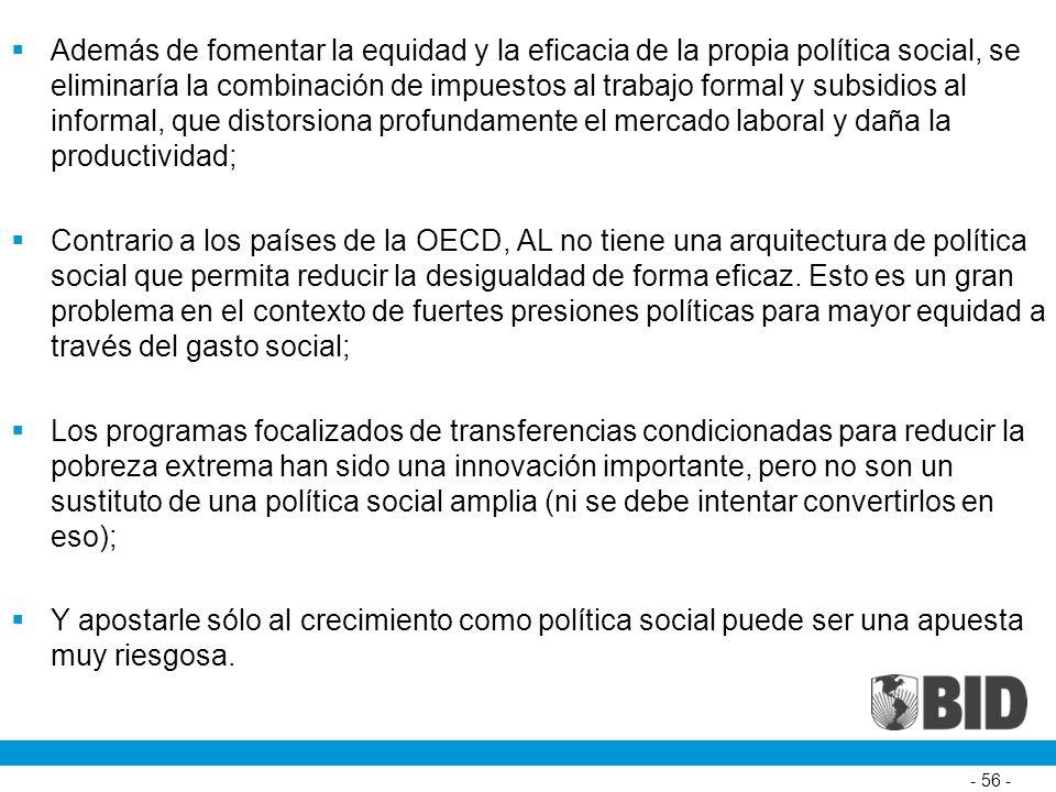 Además de fomentar la equidad y la eficacia de la propia política social, se eliminaría la combinación de impuestos al trabajo formal y subsidios al informal, que distorsiona profundamente el mercado laboral y daña la productividad; Contrario a los países de la OECD, AL no tiene una arquitectura de política social que permita reducir la desigualdad de forma eficaz.