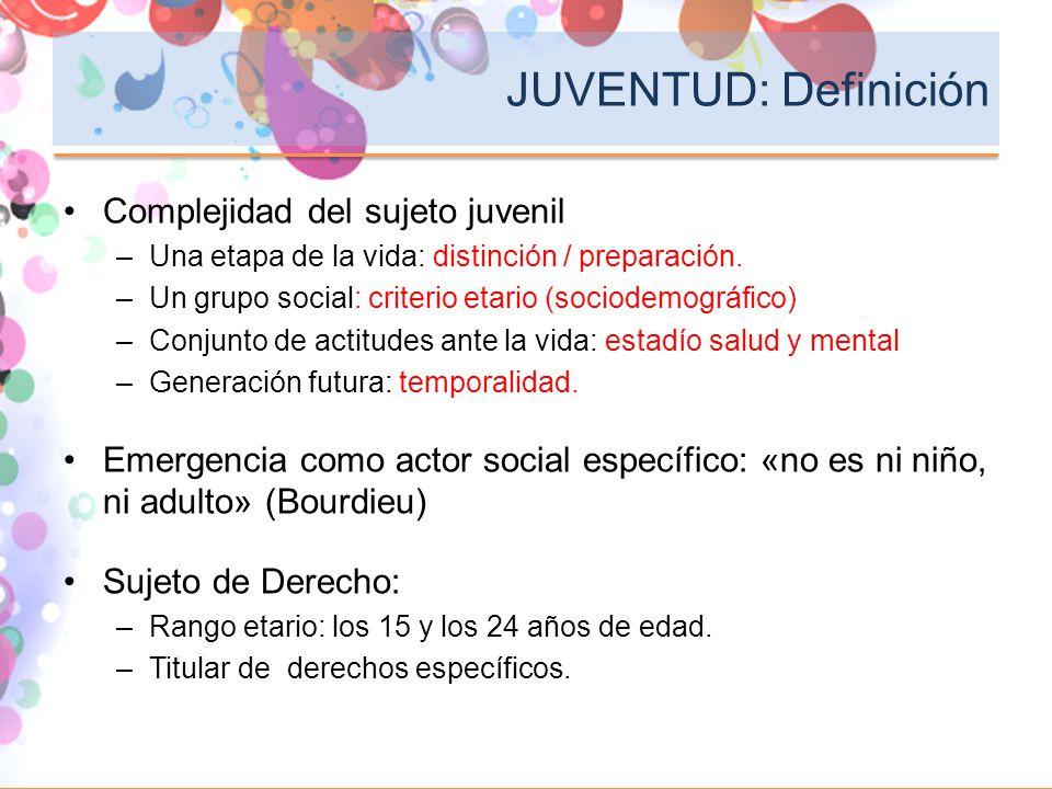 JUVENTUD: Definición Complejidad del sujeto juvenil –Una etapa de la vida: distinción / preparación. –Un grupo social: criterio etario (sociodemográfi