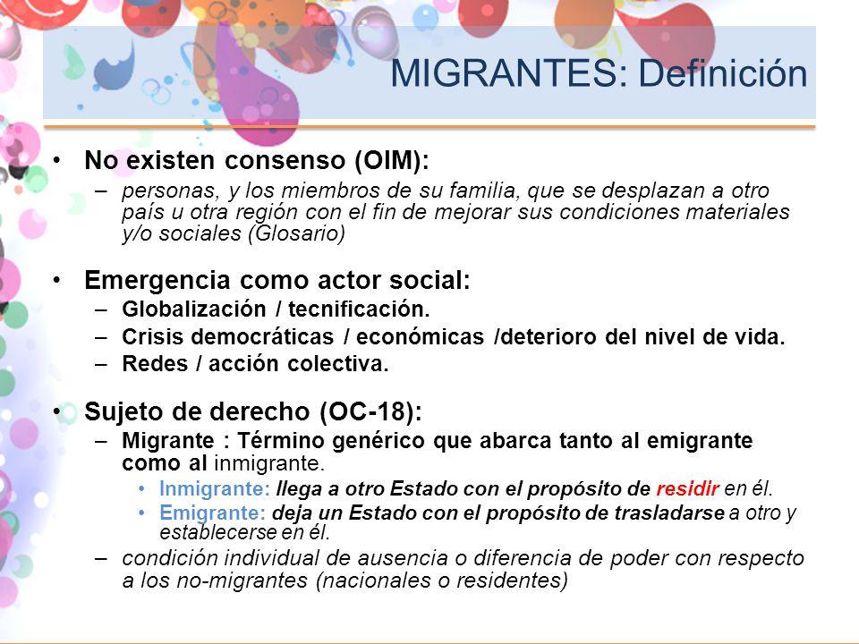 MIGRANTES: Definición No existen consenso (OIM): –personas, y los miembros de su familia, que se desplazan a otro país u otra región con el fin de mej