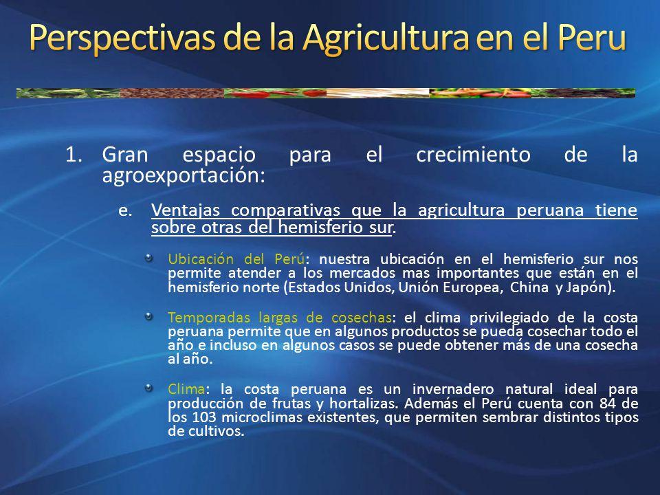 1.Gran espacio para el crecimiento de la agroexportación: e.Ventajas comparativas que la agricultura peruana tiene sobre otras del hemisferio sur. Ubi