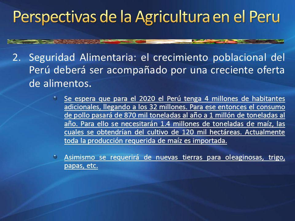2.Seguridad Alimentaria: el crecimiento poblacional del Perú deberá ser acompañado por una creciente oferta de alimentos. Se espera que para el 2020 e