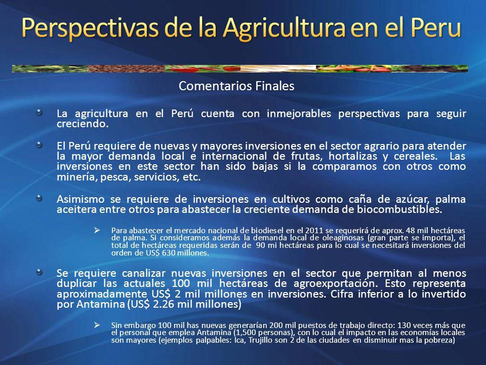 Comentarios Finales La agricultura en el Perú cuenta con inmejorables perspectivas para seguir creciendo. El Perú requiere de nuevas y mayores inversi