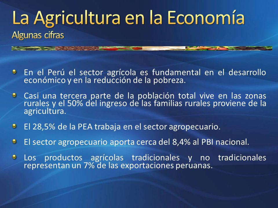 En el Perú el sector agrícola es fundamental en el desarrollo económico y en la reducción de la pobreza. Casi una tercera parte de la población total