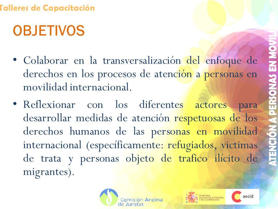 OBJETIVOS Colaborar en la transversalización del enfoque de derechos en los procesos de atención a personas en movilidad internacional.