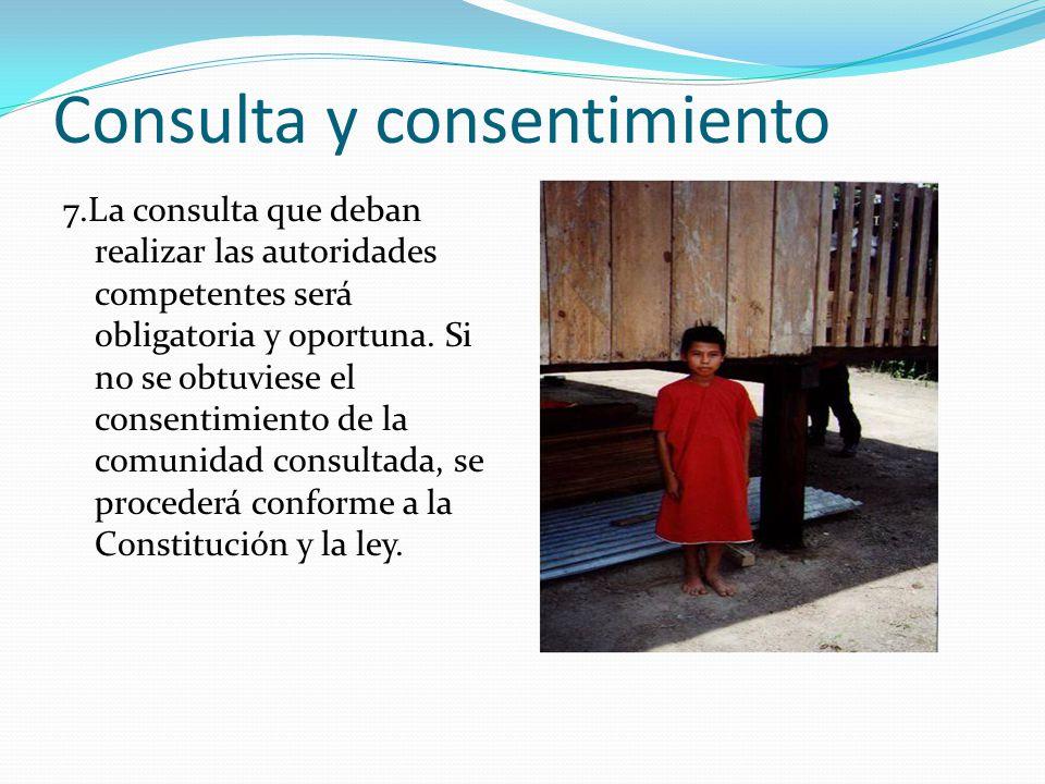 Consulta y consentimiento 7.La consulta que deban realizar las autoridades competentes será obligatoria y oportuna. Si no se obtuviese el consentimien