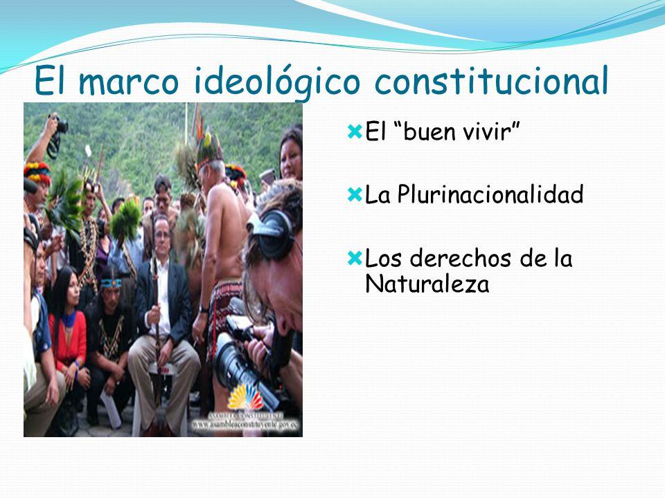 El marco ideológico constitucional El buen vivir La Plurinacionalidad Los derechos de la Naturaleza