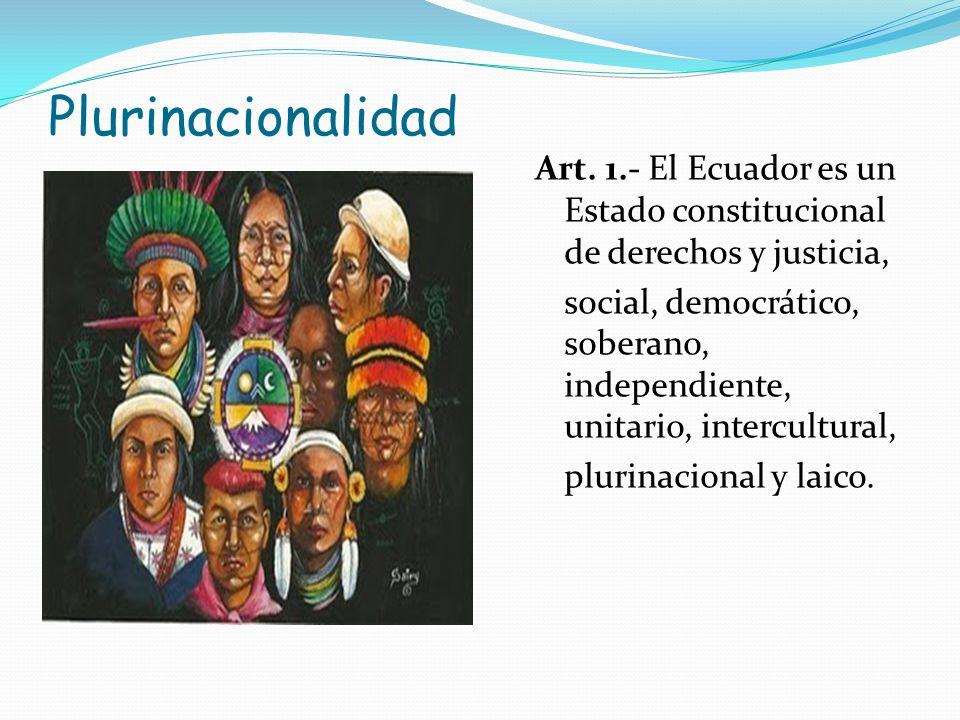 Plurinacionalidad Art. 1.- El Ecuador es un Estado constitucional de derechos y justicia, social, democrático, soberano, independiente, unitario, inte