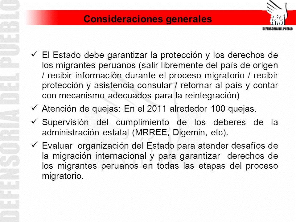Consideraciones generales El Estado debe garantizar la protección y los derechos de los migrantes peruanos (salir libremente del país de origen / recibir información durante el proceso migratorio / recibir protección y asistencia consular / retornar al país y contar con mecanismo adecuados para la reintegración) Atención de quejas: En el 2011 alrededor 100 quejas.