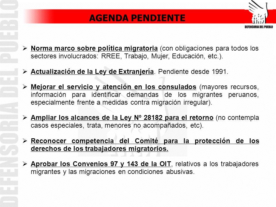 Norma marco sobre política migratoria (con obligaciones para todos los sectores involucrados: RREE, Trabajo, Mujer, Educación, etc.).