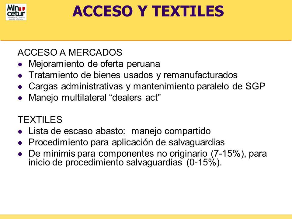 ACCESO Y TEXTILES ACCESO A MERCADOS Mejoramiento de oferta peruana Tratamiento de bienes usados y remanufacturados Cargas administrativas y mantenimie