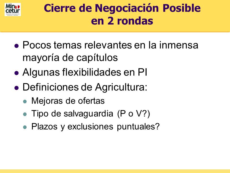 Cierre de Negociación Posible en 2 rondas Pocos temas relevantes en la inmensa mayoría de capítulos Algunas flexibilidades en PI Definiciones de Agricultura: Mejoras de ofertas Tipo de salvaguardia (P o V ) Plazos y exclusiones puntuales