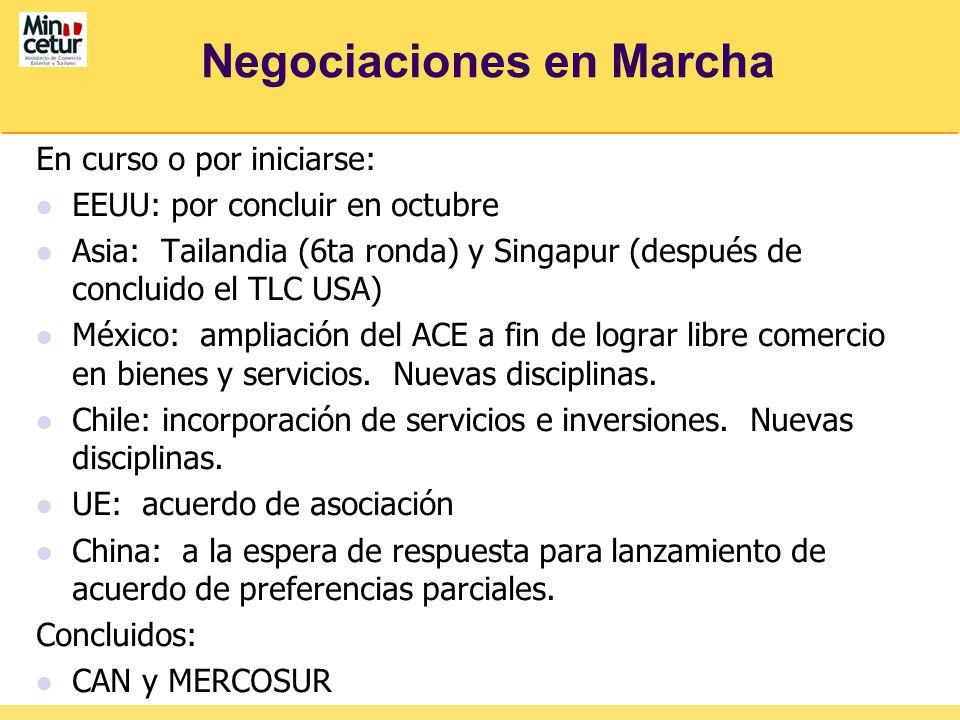 Negociaciones en Marcha En curso o por iniciarse: EEUU: por concluir en octubre Asia: Tailandia (6ta ronda) y Singapur (después de concluido el TLC USA) México: ampliación del ACE a fin de lograr libre comercio en bienes y servicios.