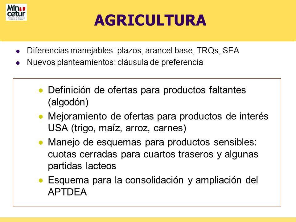 AGRICULTURA Diferencias manejables: plazos, arancel base, TRQs, SEA Nuevos planteamientos: cláusula de preferencia Definición de ofertas para producto