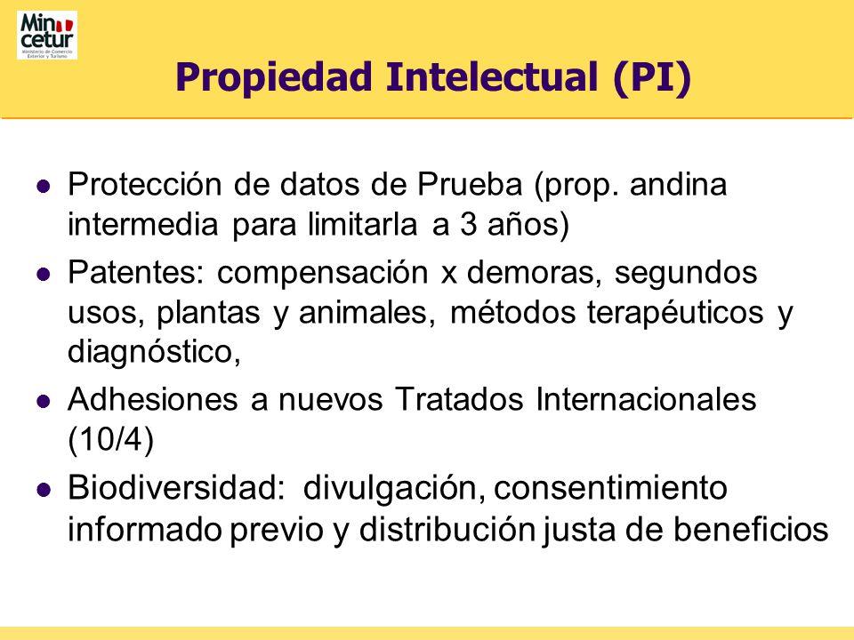 Propiedad Intelectual (PI) Protección de datos de Prueba (prop. andina intermedia para limitarla a 3 años) Patentes: compensación x demoras, segundos