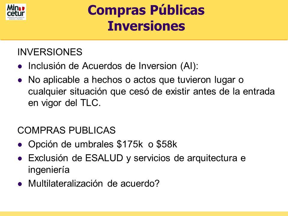 Compras Públicas Inversiones INVERSIONES Inclusión de Acuerdos de Inversion (AI): No aplicable a hechos o actos que tuvieron lugar o cualquier situaci
