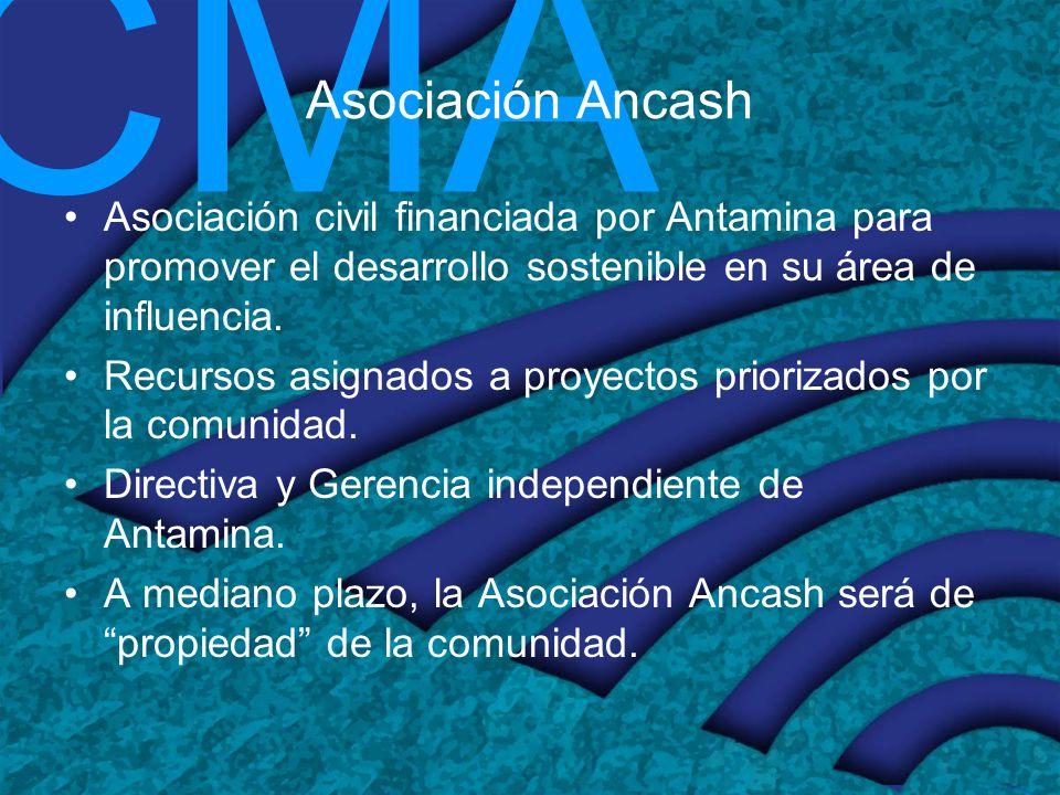 CMA Asociación Ancash Asociación civil financiada por Antamina para promover el desarrollo sostenible en su área de influencia. Recursos asignados a p