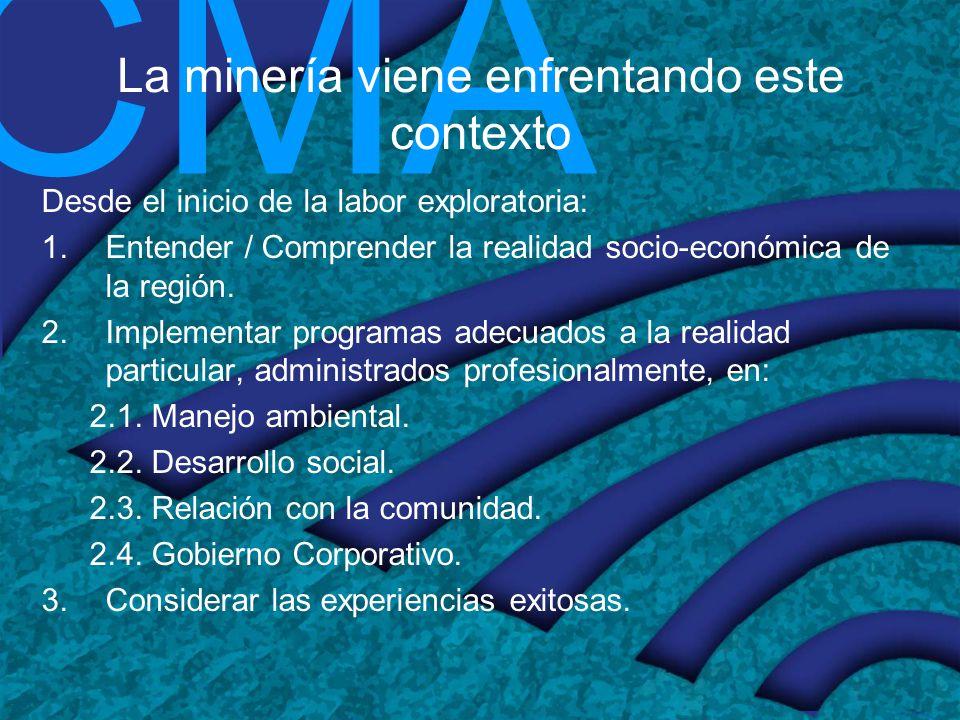 CMA Estrategia de las empresas mineras para construir una relación sostenible con los actores sociales Adoptar una política de Responsabilidad Social y Ambiental desde el inicio.